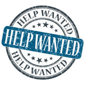 Help Wanted blue grunge round stamp on white background — Stock Photo