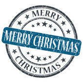 Merry Christmas blue grunge round stamp on white background — Foto de Stock