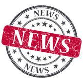 Notizie grunge rosso rotondo timbro su sfondo bianco — Foto Stock