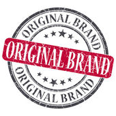 Original Brand red grunge round stamp on white background — Photo