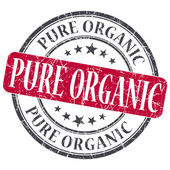 Pure Organic red grunge round stamp on white background — Photo