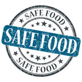 Safe Food blue grunge round stamp on white background — Stock Photo