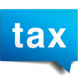 Tax blue 3d realistic paper speech bubble isolated on white — Stock Vector