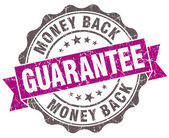Money back guarantee violet grunge retro style isolated seal — Stock Photo