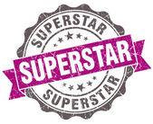 Superstar violet grunge retro style isolated seal — Stock Photo