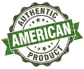 American product green grunge retro style isolated seal — Stock Photo
