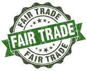 Fair trade green grunge retro style isolated seal — Stock Photo