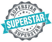 Superstar blue grunge retro style isolated seal — Stock Photo