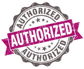 Authorized violet grunge retro style isolated seal — Stok fotoğraf