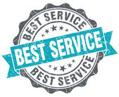 Best service blue grunge retro style isolated seal — Stock Photo