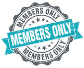 Members only blue grunge retro style isolated seal — Stok fotoğraf