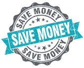 Save money turquoise grunge retro style isolated seal — Stock Photo