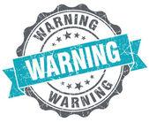 Warning turquoise grunge retro style isolated seal — Stock Photo