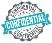 Confidential blue grunge retro style isolated seal — Stockfoto