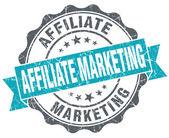 Affiliate marketing blue grunge retro style isolated seal — Stock Photo