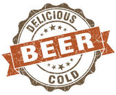 Beer brown grunge retro style isolated seal — 图库照片