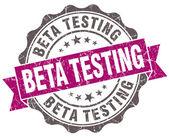 Beta testing violet grunge retro style isolated seal — Stock Photo