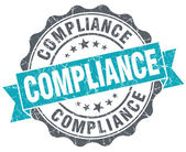 Compliance turquoise grunge retro vintage isolated seal — Stock Photo