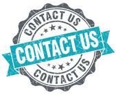 Contact us turquoise grunge retro vintage isolated seal — Stock Photo