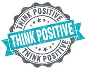 Think positive turquoise grunge retro vintage isolated seal — Stock Photo