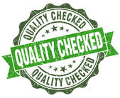 Quality checked green grunge retro vintage isolated seal — Stock Photo