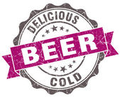 Beer violet grunge retro style isolated seal — Stockfoto