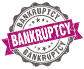 Bankruptcy violet grunge retro style isolated seal — Stock Photo