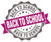 Back to school violet grunge retro style isolated seal — 图库照片