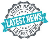 Latest news turquoise grunge retro vintage isolated seal — Stock Photo