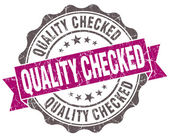 Quality checked violet grunge retro vintage isolated seal — Stock Photo