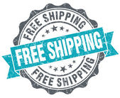 Free shipping turquoise grunge retro vintage isolated seal — Stock Photo