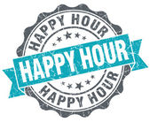 Happy hour turquoise grunge retro vintage isolated seal — Stock Photo