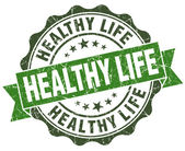 Healthy life green grunge retro vintage isolated seal — Stock Photo
