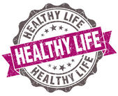 Healthy life violet grunge retro vintage isolated seal — Stock Photo
