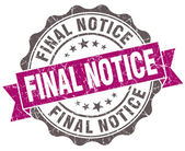 Final notice violet grunge retro vintage isolated seal — Stock Photo