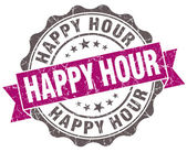 Happy hour violet grunge retro vintage isolated seal — Stock Photo