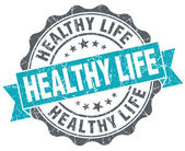 Healthy life turquoise grunge retro vintage isolated seal — Stock Photo