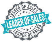 Leader of sales turquoise grunge retro vintage isolated seal — Stock Photo