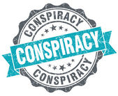 Conspiracy turquoise grunge retro vintage isolated seal — Stock Photo