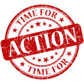 Time for action red round grungy vintage isolated rubber stamp — Foto de Stock