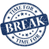 Time for break blue round grungy vintage isolated rubber stamp — Foto Stock