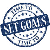 Time to set goals blue round grungy vintage isolated rubber stamp — Stock Photo