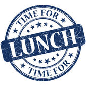 Time for lunch blue round grungy vintage isolated rubber stamp — Stock Photo