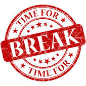 Time for break red round grungy vintage isolated rubber stamp — Foto de Stock