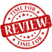 Time for review red round grungy vintage isolated rubber stamp — Stock Photo