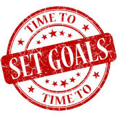 Time to set goals red round grungy vintage isolated rubber stamp — Stock Photo