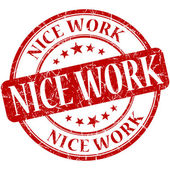 Nice work red round grungy vintage rubber stamp — Foto Stock