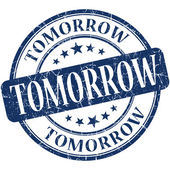 Tomorrow blue round grungy vintage rubber stamp — Stockfoto