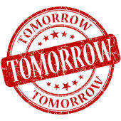 Tomorrow red round grungy vintage rubber stamp — Stock Photo