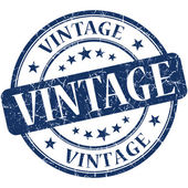 Vintage blue round grungy vintage rubber stamp — Stockfoto